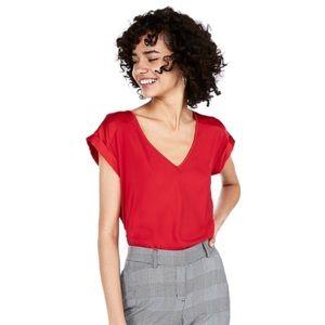 EXPRESS Red silky Gramercy V-neck short sleeve XS